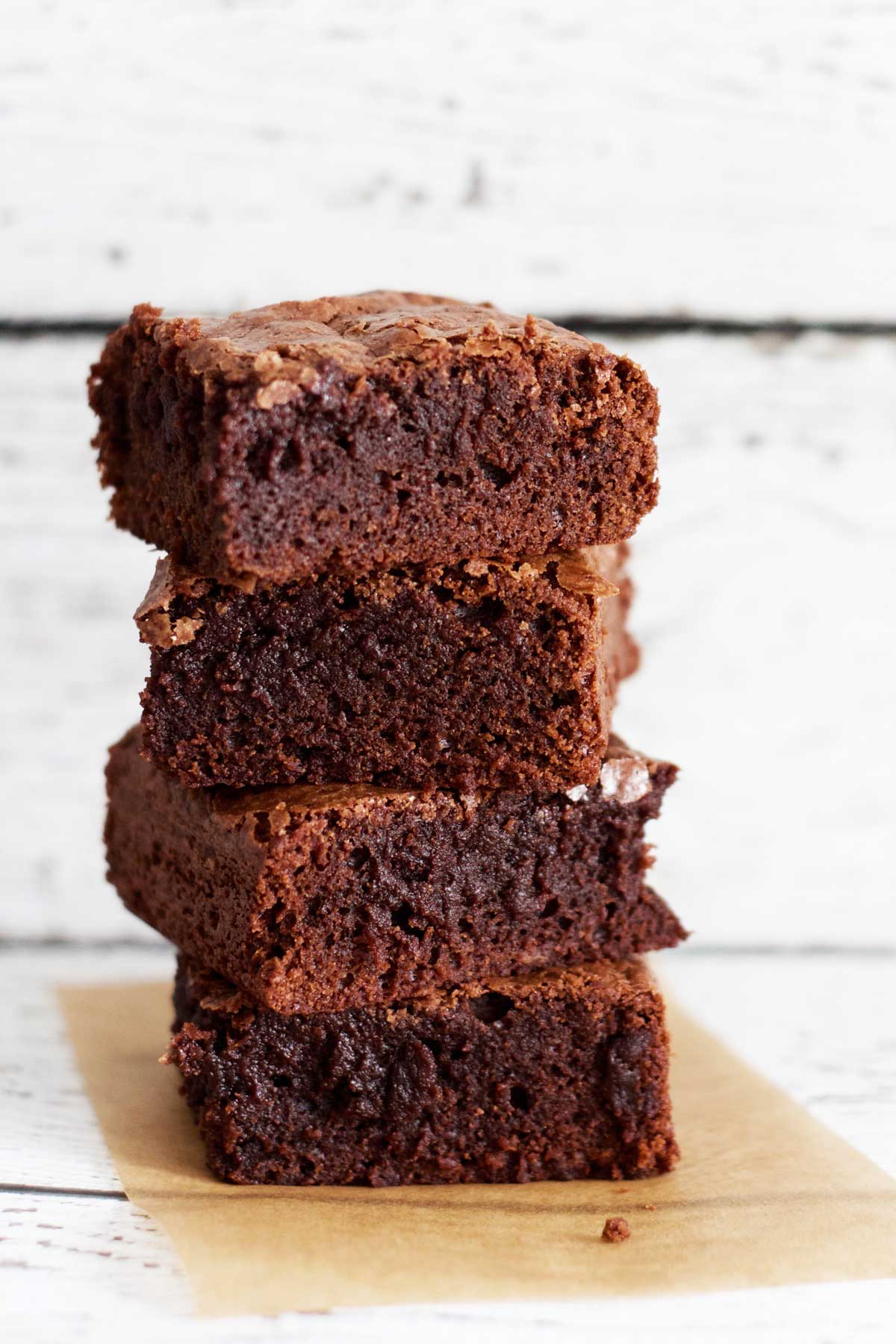 stack of delicious, fudgy brownies