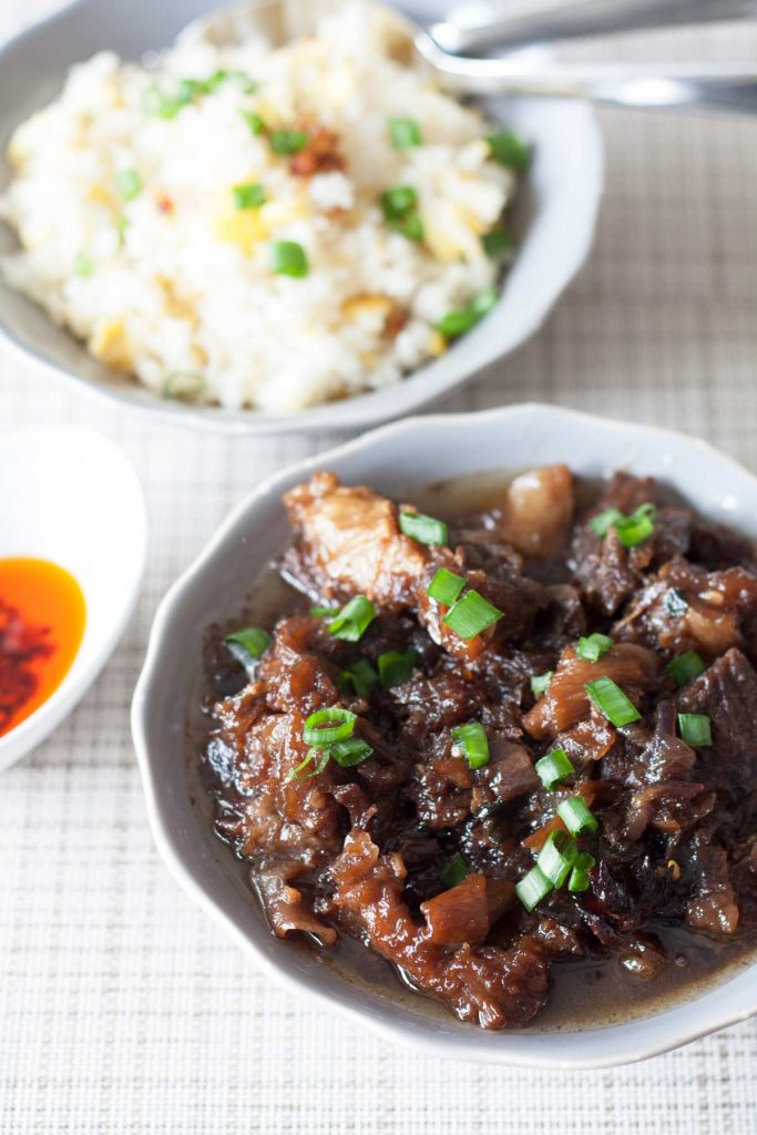 Beef Pares is a popular Filipino comfort food with Chinese influence. The use of star anise gives this dish a unique and delicious taste. Pares means pair or partner - a combination of beef and fried rice. Cuts with lots of litid (tendon) are used to achieve a texture that is tender and sticky at the same time.   www.SpoonfulOfButter.com