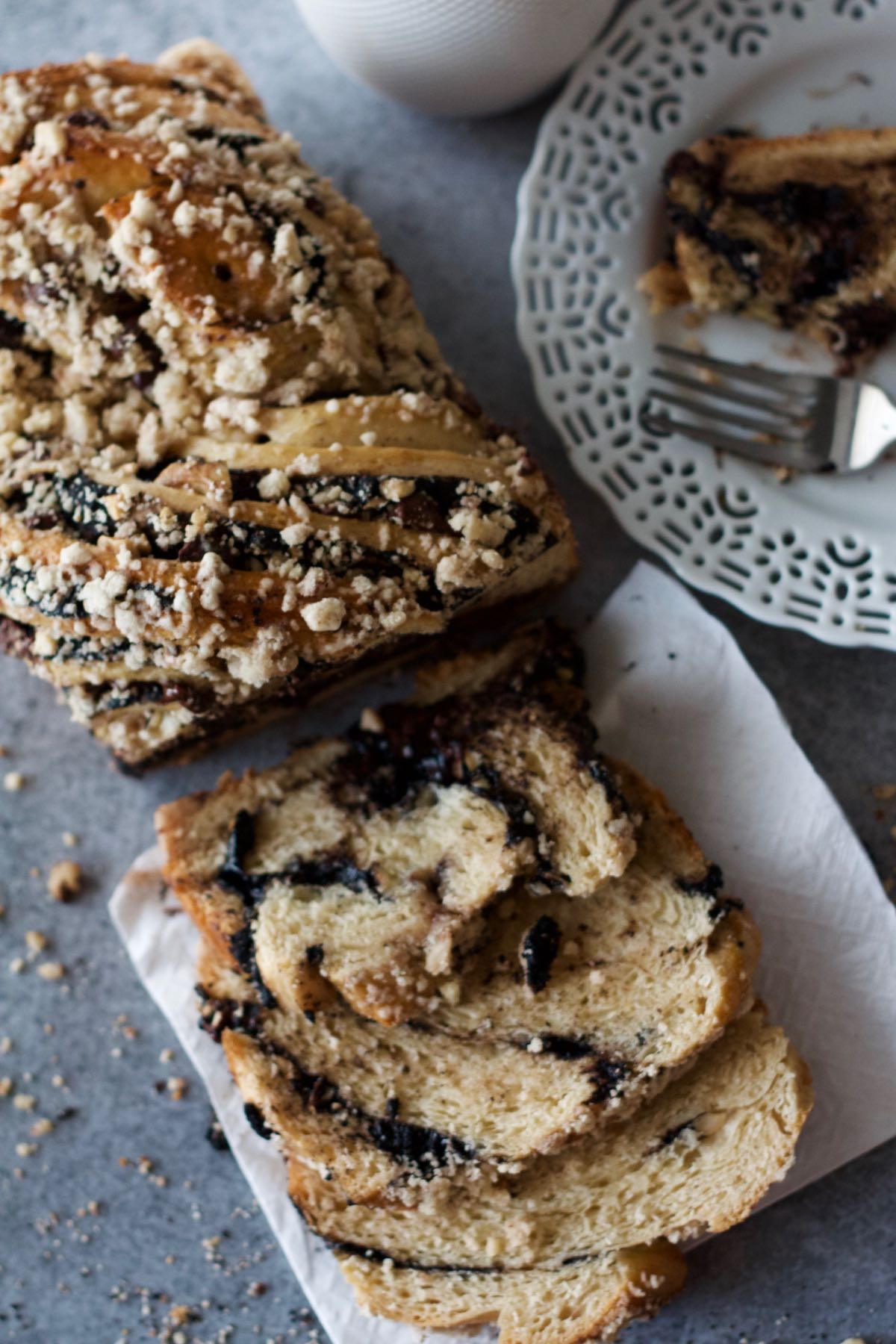 Sliced Dark Chocolate and Cashew Babka with fork