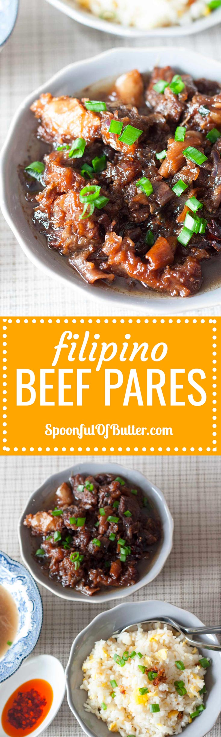 Beef Pares is a popular Filipino comfort food with Chinese influence. The use of star anise gives this dish a unique and delicious taste. Cuts with lots of litid (tendon) are used to achieve a texture that is tender and sticky at the same time. | www.SpoonfulOfButter.com