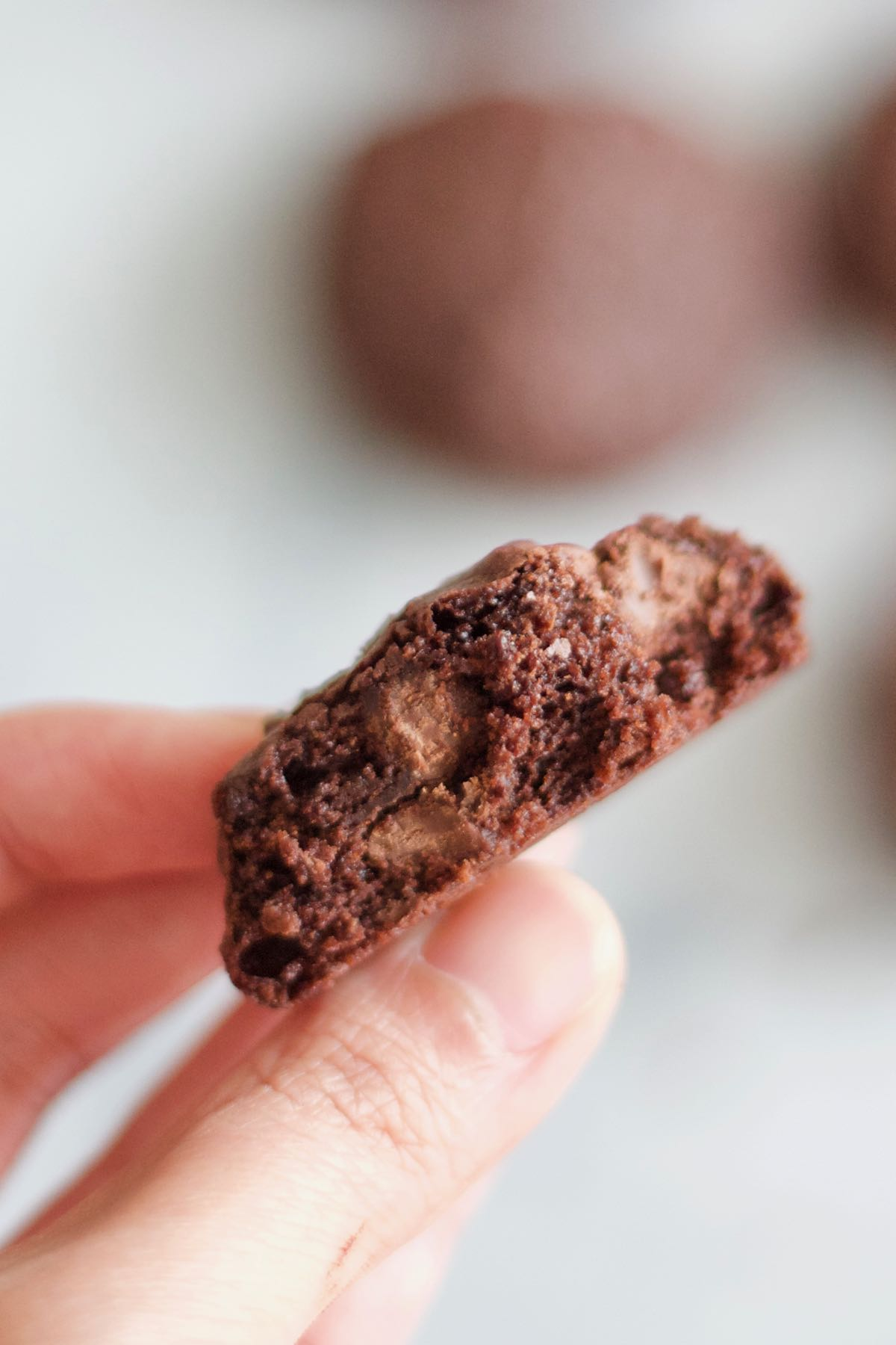 close-up picture of the dark chocolate chip cookie