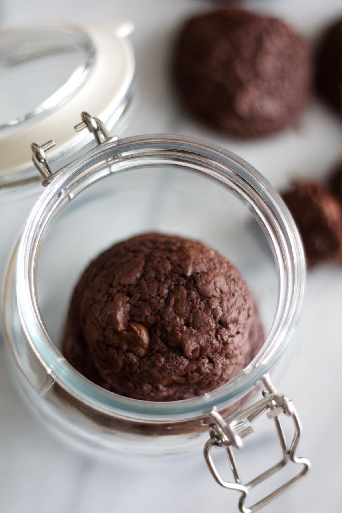 dark chocolate chip cookies in a jar