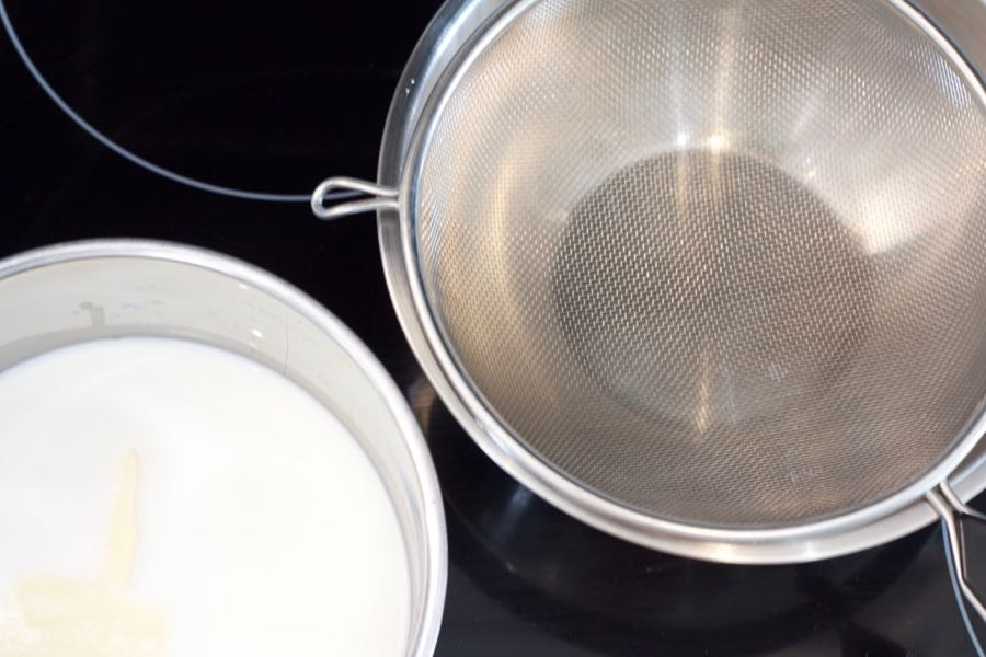 a strainer over a bowl prepared