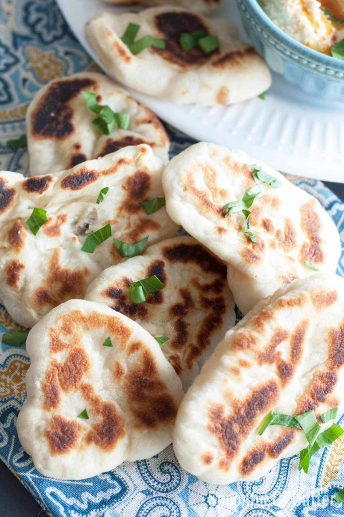 A plate of naan dippers