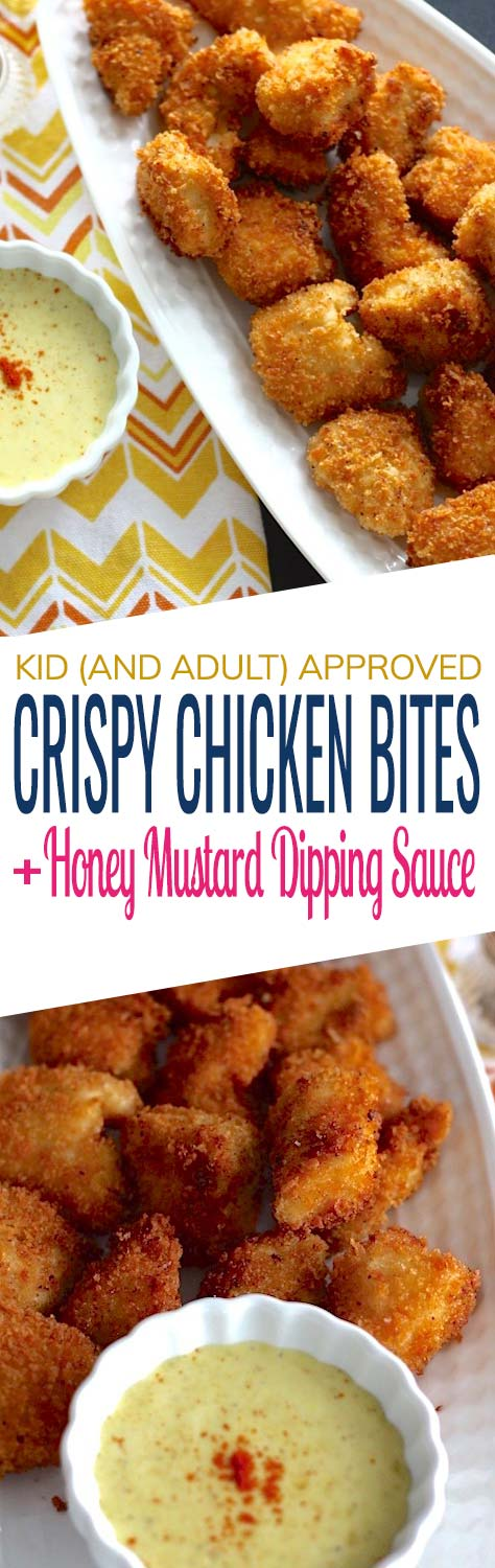 Homemade Crispy Chicken Nuggets served with honey mustard dipping sauce – fresh and delicious! You won't want fast food and frozen nuggets ever again.