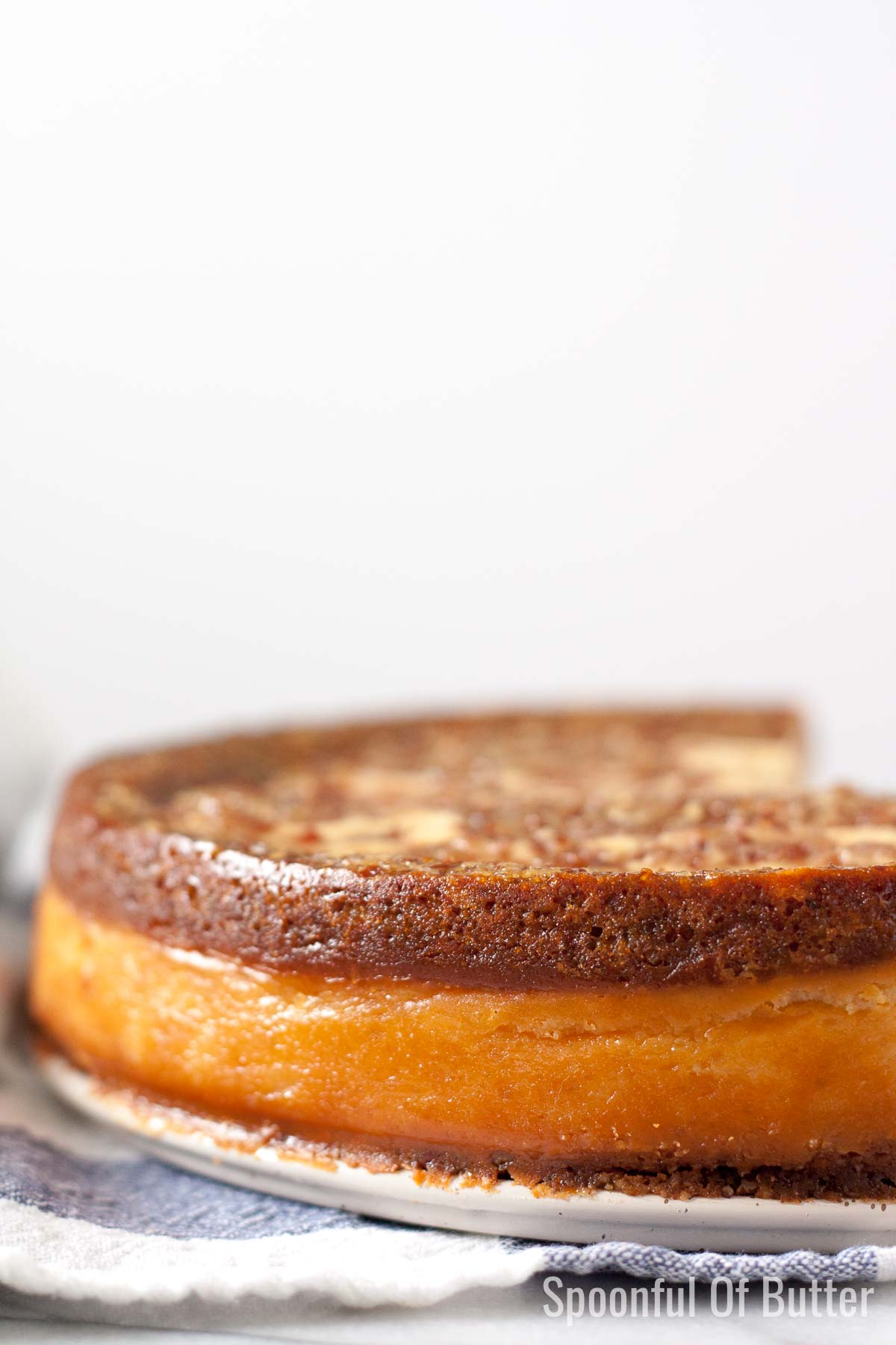 Sides of Pecan Pie Cheesecake Showing the three layers