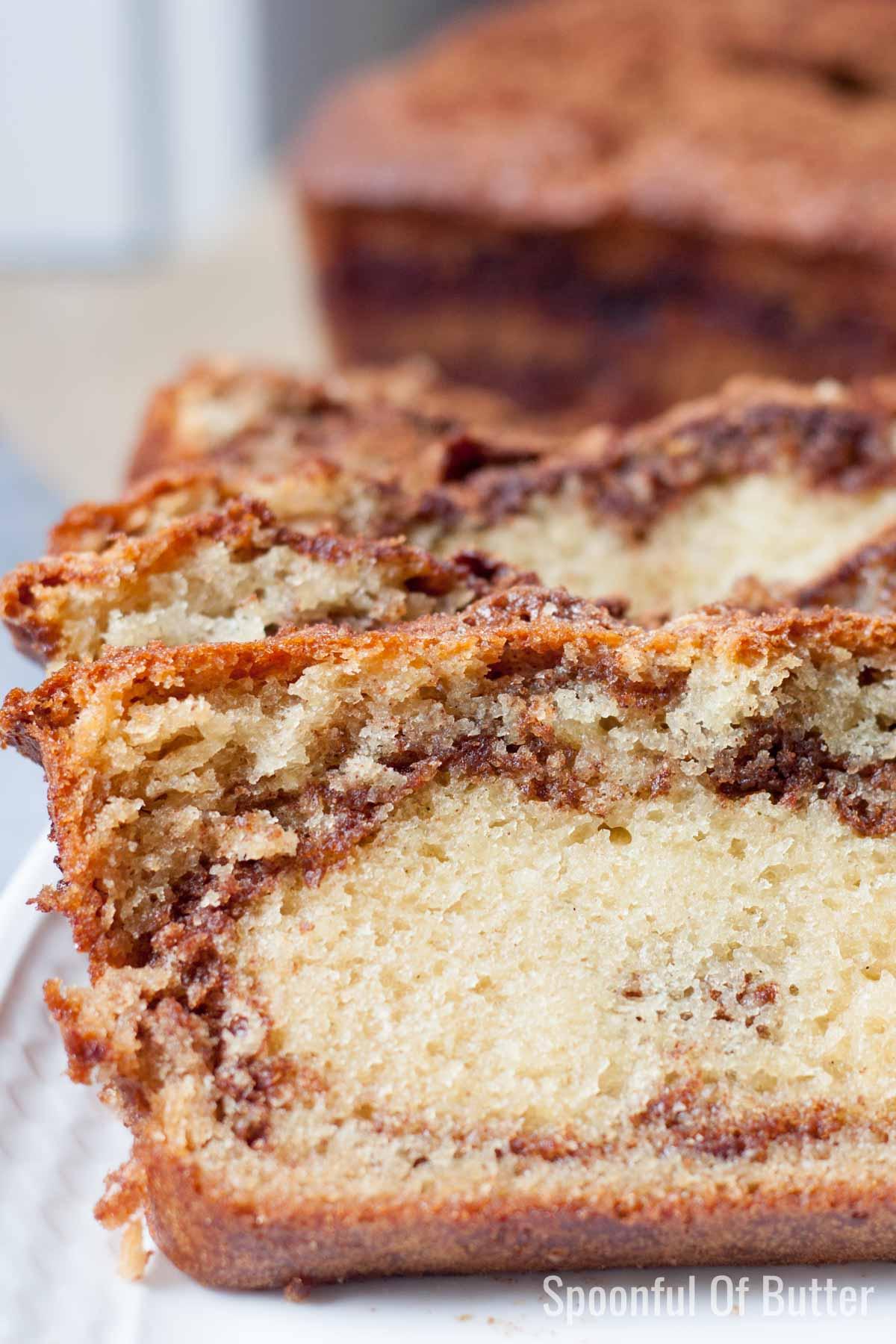 A slice of super moist cinnamon swirl loaf
