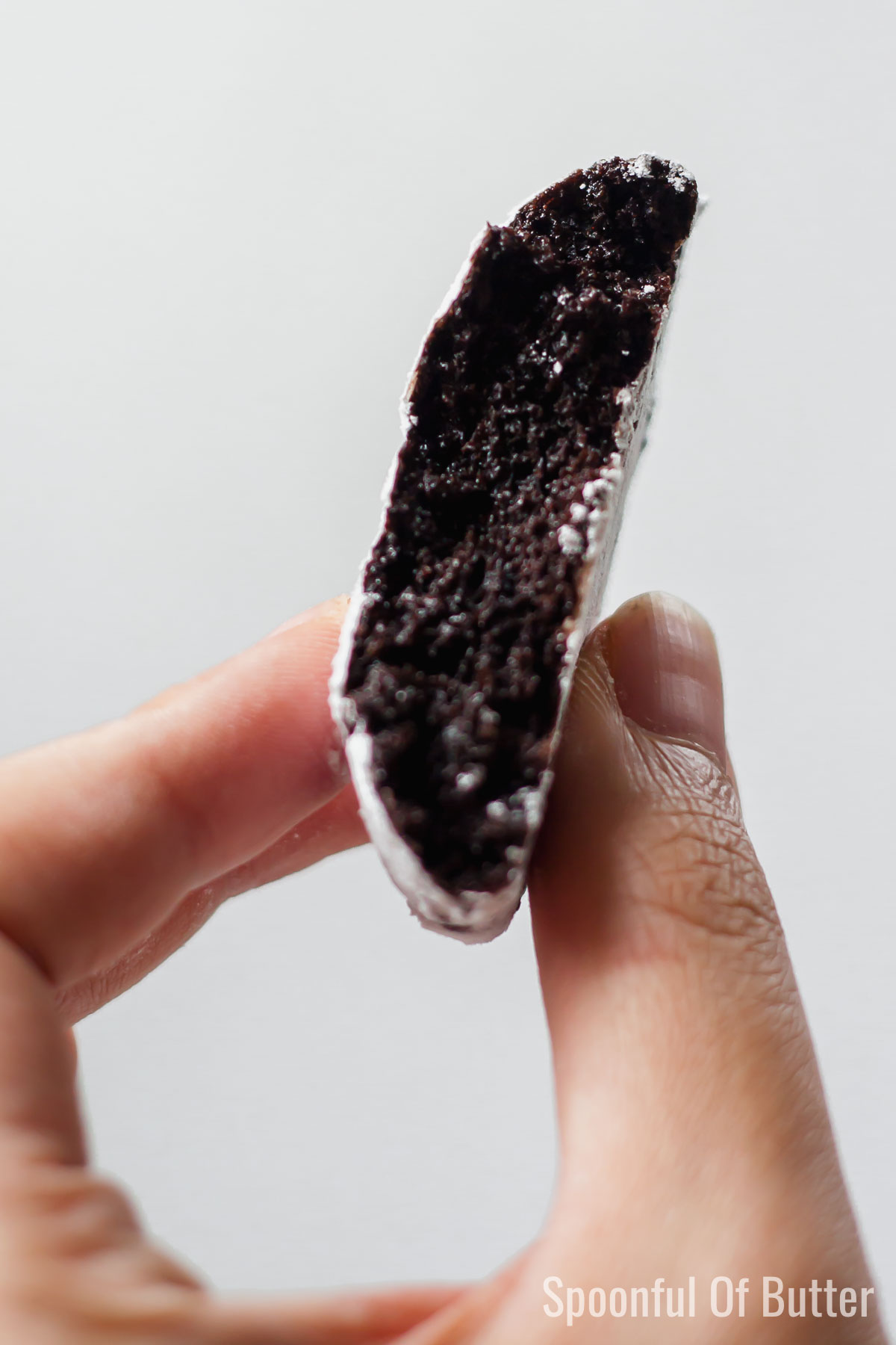 Close-up photo of black cocoa crinkle cookies