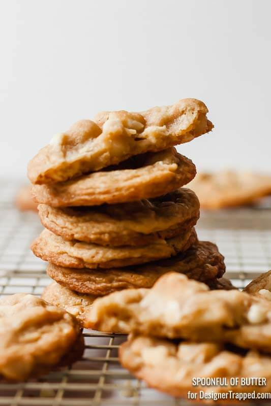 white chocolate and macadamia nut cookies stacked