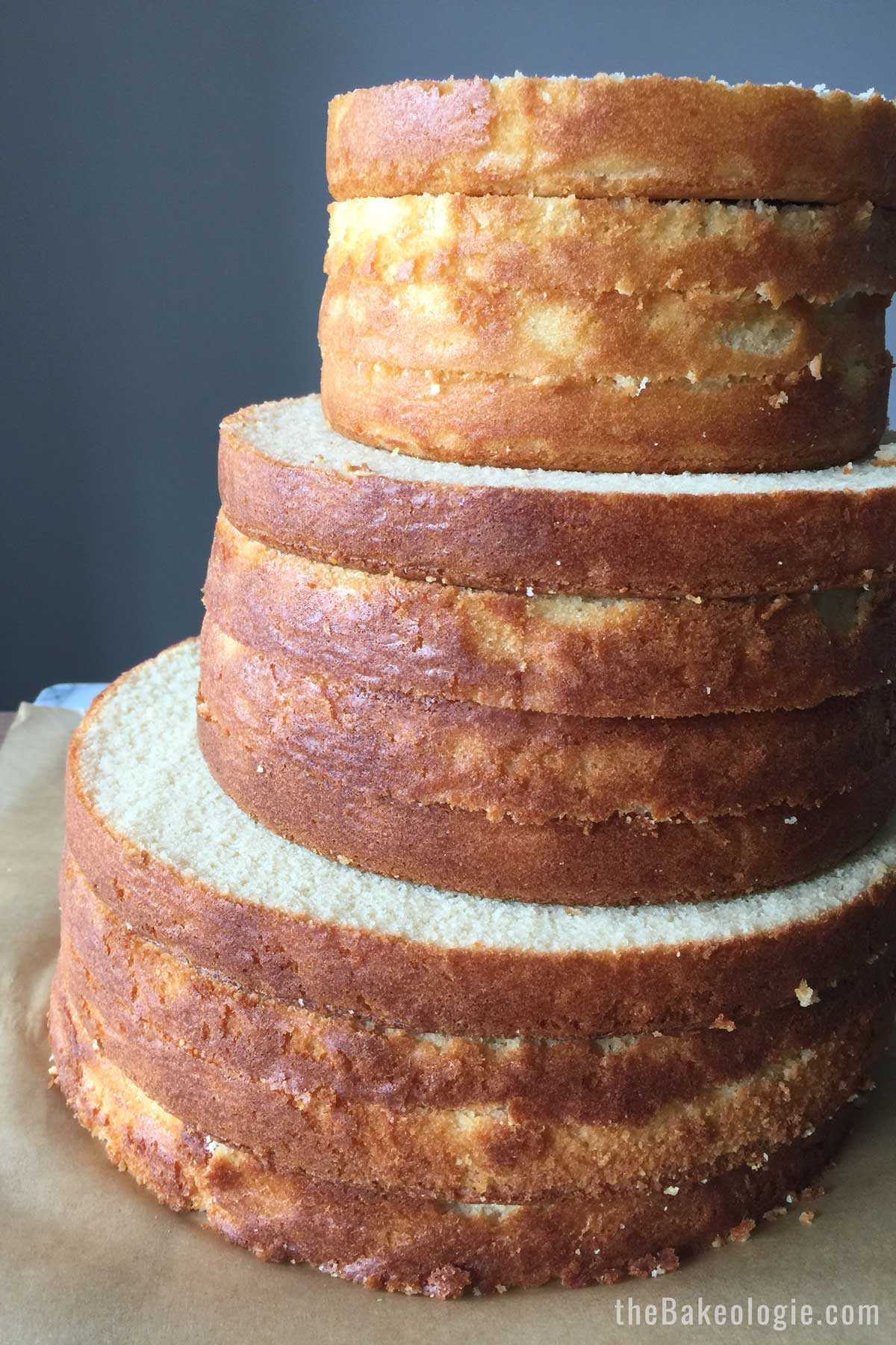 front view of 3-tiered vanilla cake