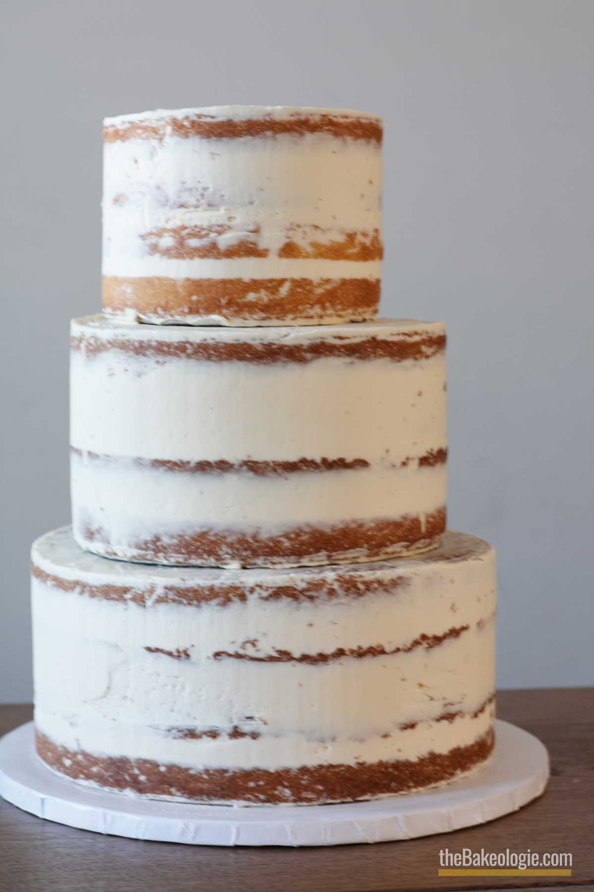 3-tiered wedding cake with crumb coat