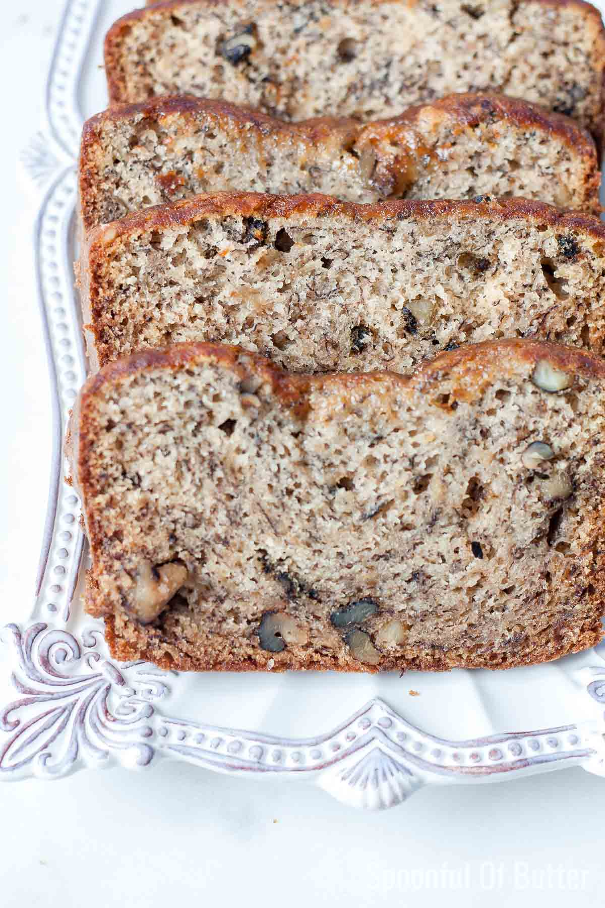 slices of best ever banana bread on a plate