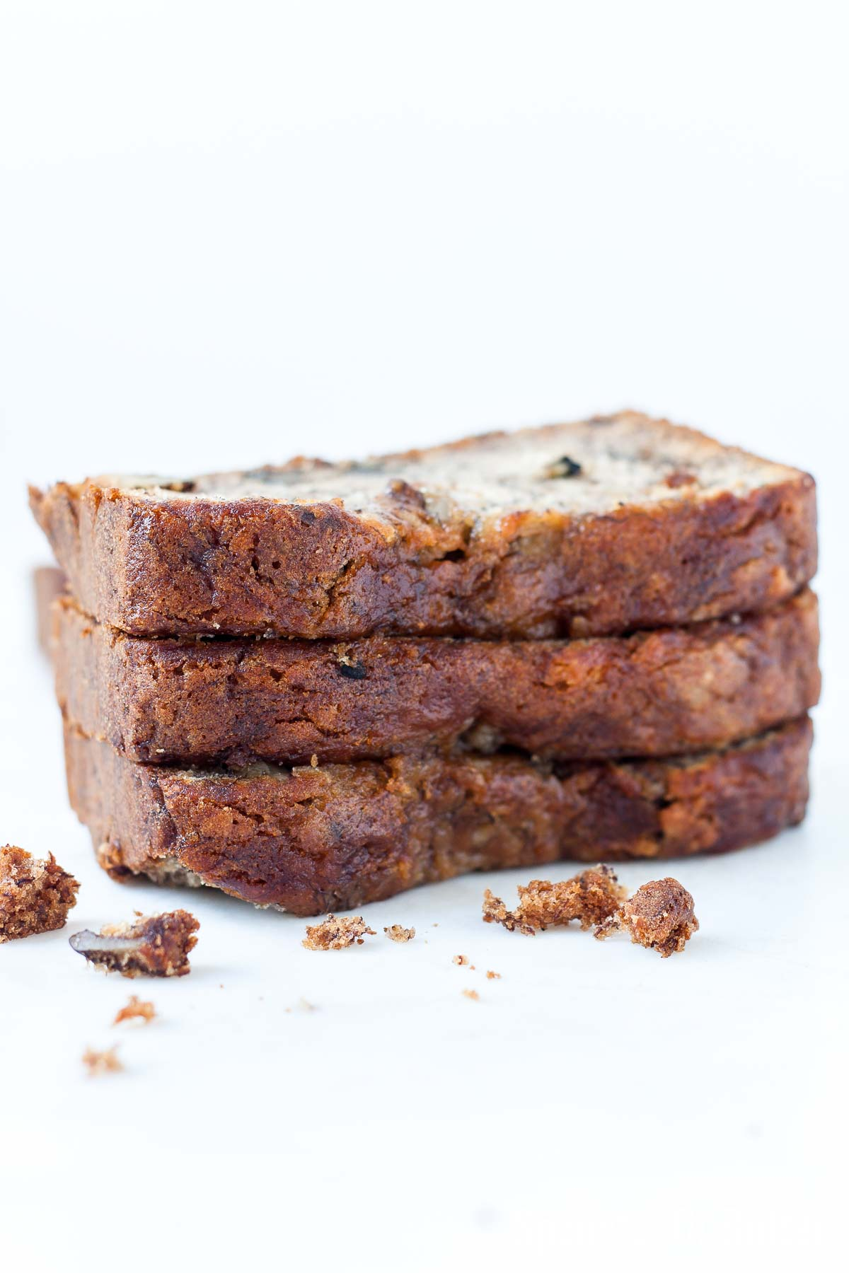 close-up view of stacked banana bread slices