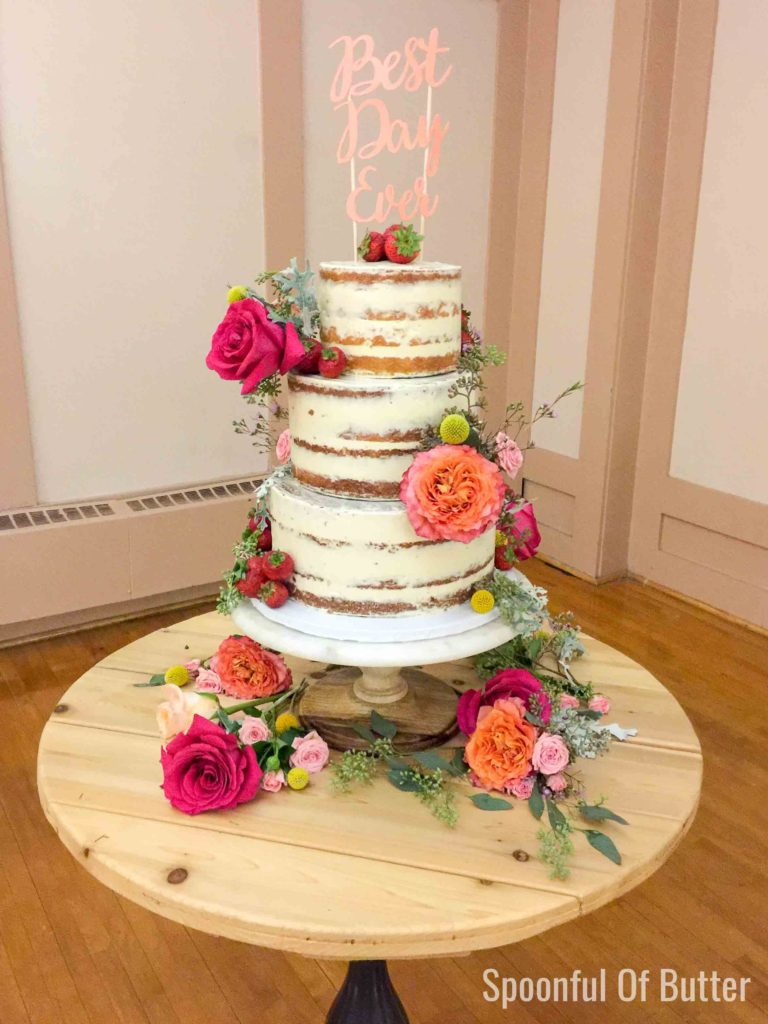 simple rustic wedding cake with topper