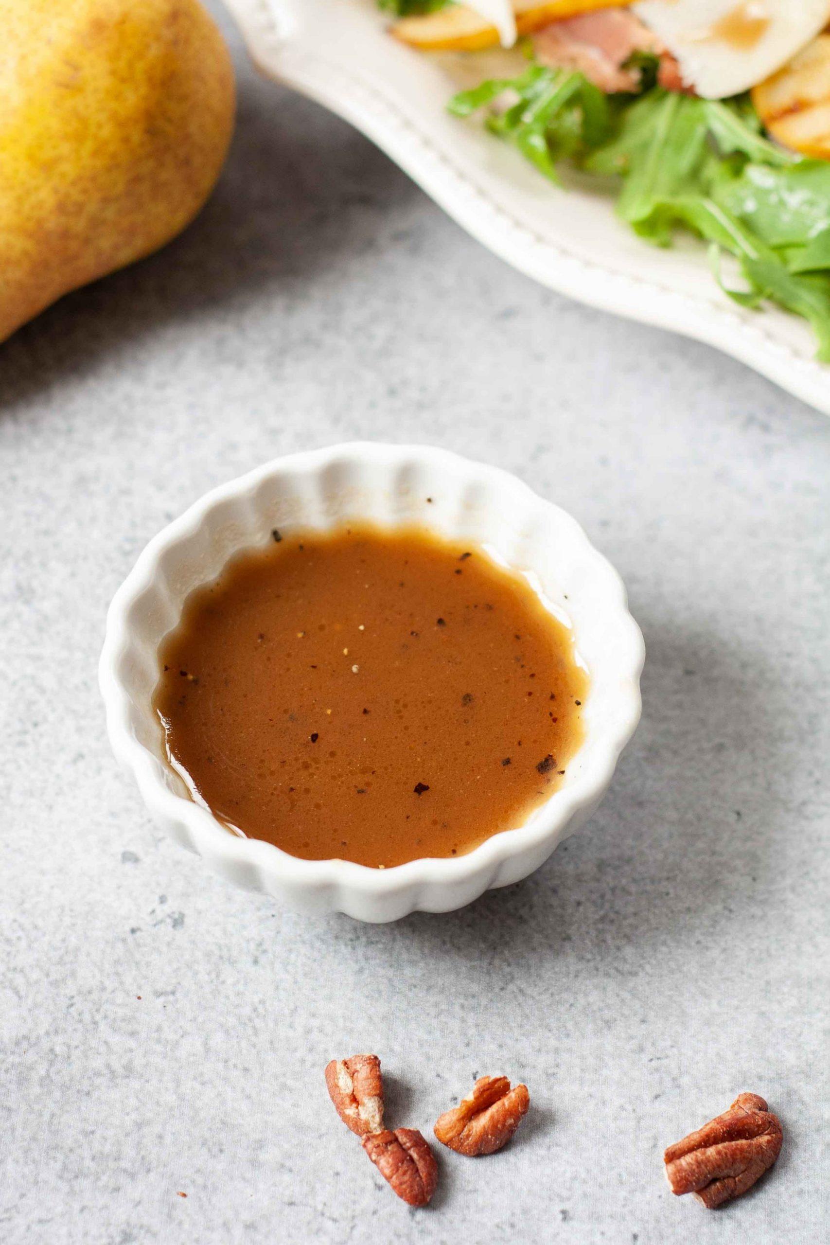 honey balsamic vinaigrette in a small bowl