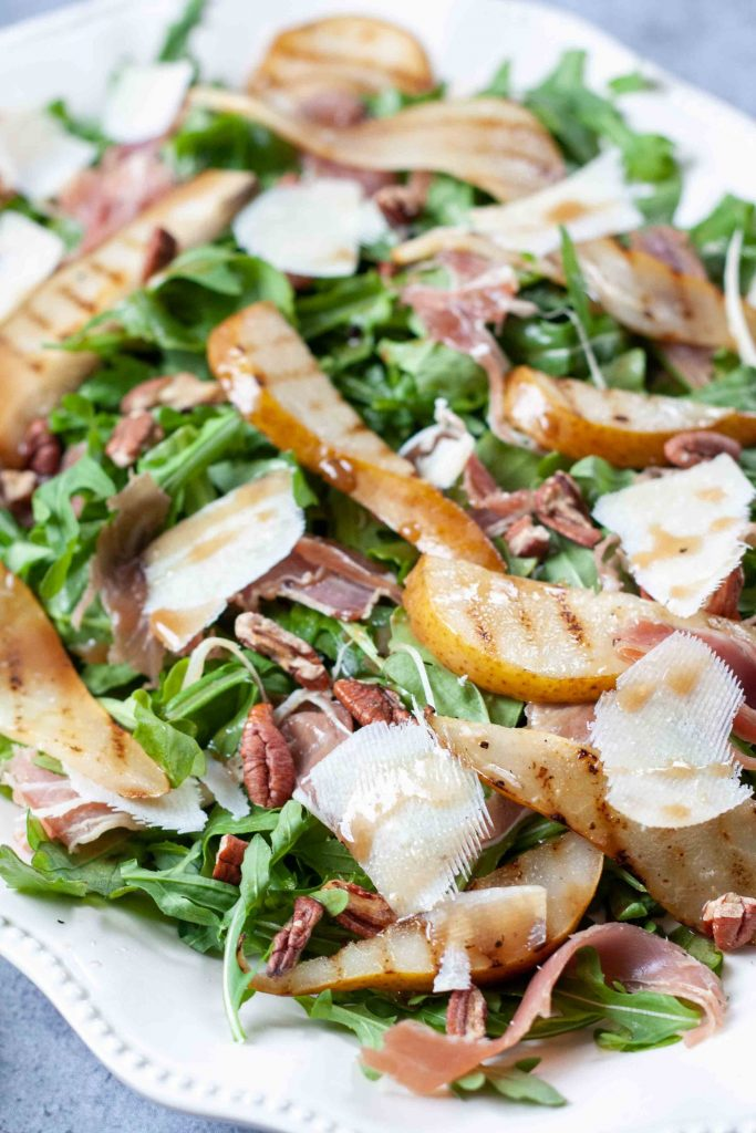 close-up view of the salad drizzled with dressing