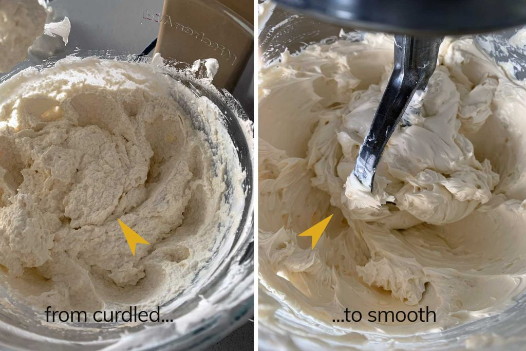 beating a buttercream frosting at mediums speed