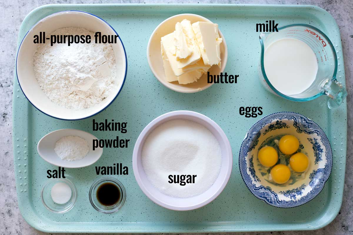 Ingredients for Vanilla Cake recipe.